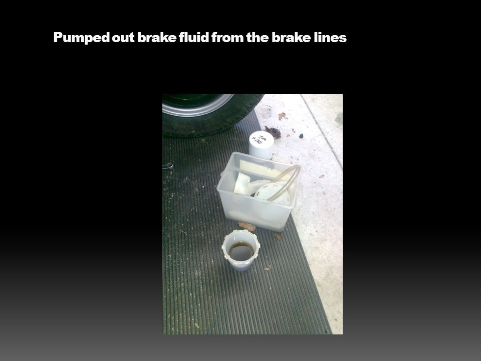 Pumped out brake fluid from the brake lines
