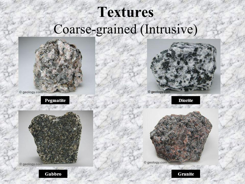 Textures Coarse-grained (Intrusive) Diorite GraniteGabbro Pegmatite