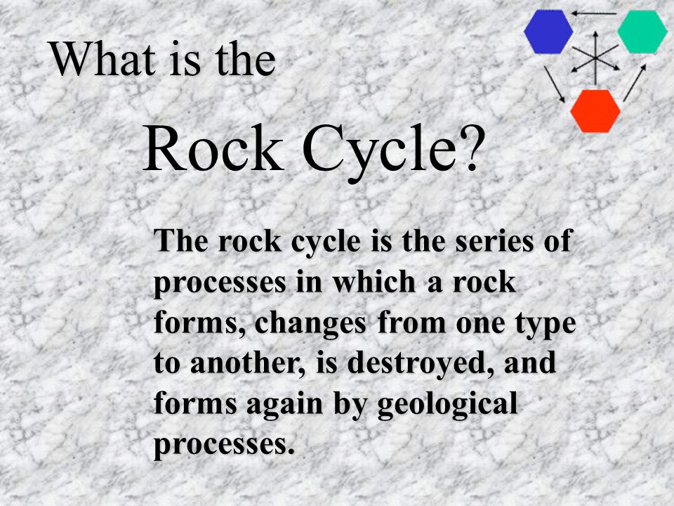 What is the The rock cycle is the series of processes in which a rock forms, changes from one type to another, is destroyed, and forms again by geological processes.