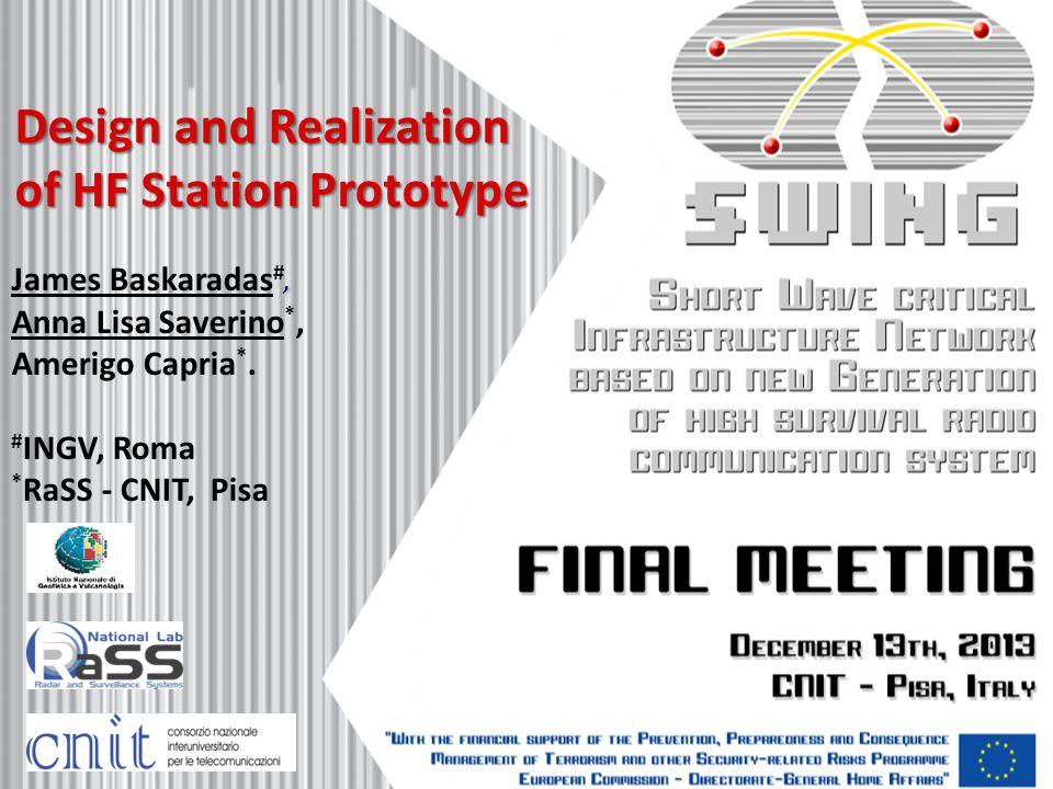 Design and Realization of HF Station Prototype, James Baskaradas #, Anna Lisa Saverino *, Amerigo Capria *. # INGV, Roma * RaSS - CNIT, Pisa