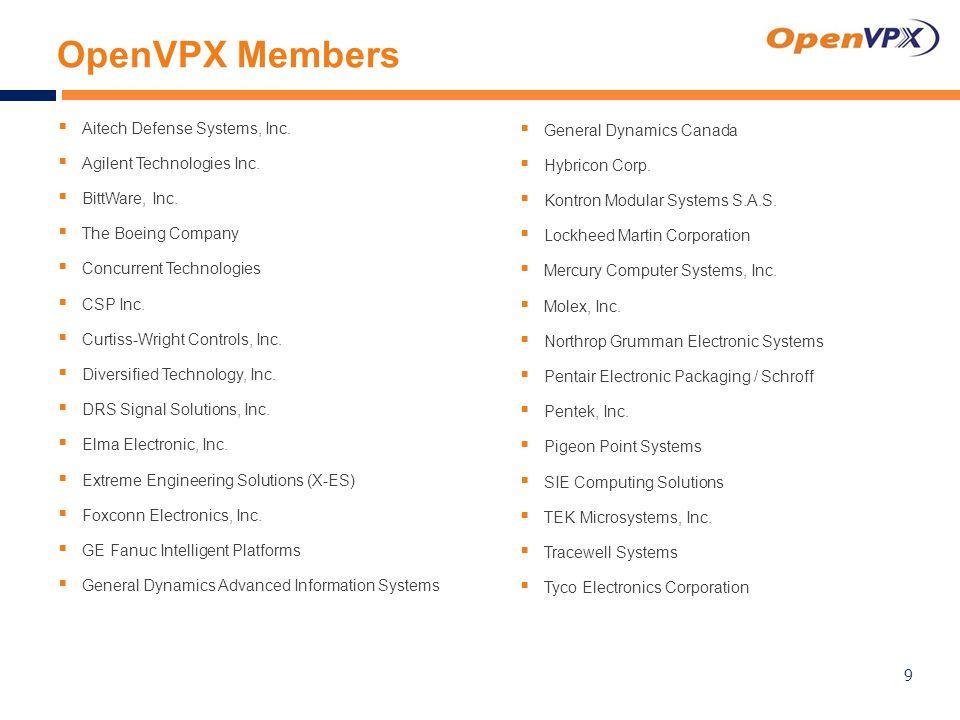 OpenVPX Members  Aitech Defense Systems, Inc.  Agilent Technologies Inc.