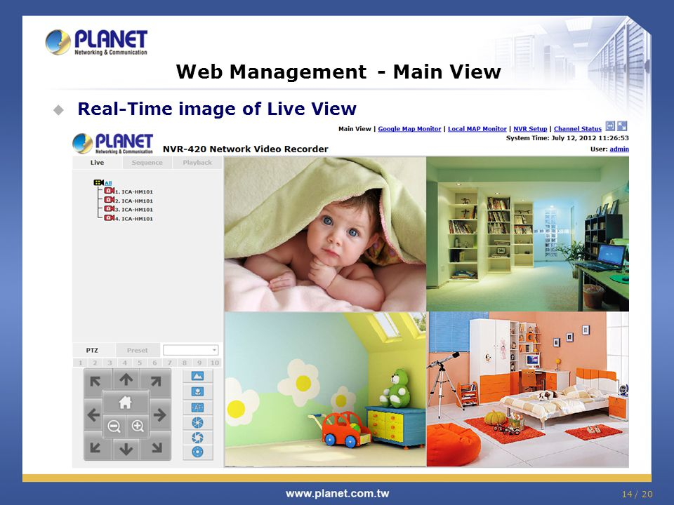 Web Management - Main View  Real-Time image of Live View 14 / 20