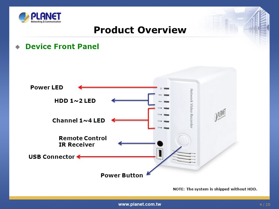  Device Front Panel NOTE: The system is shipped without HDD.