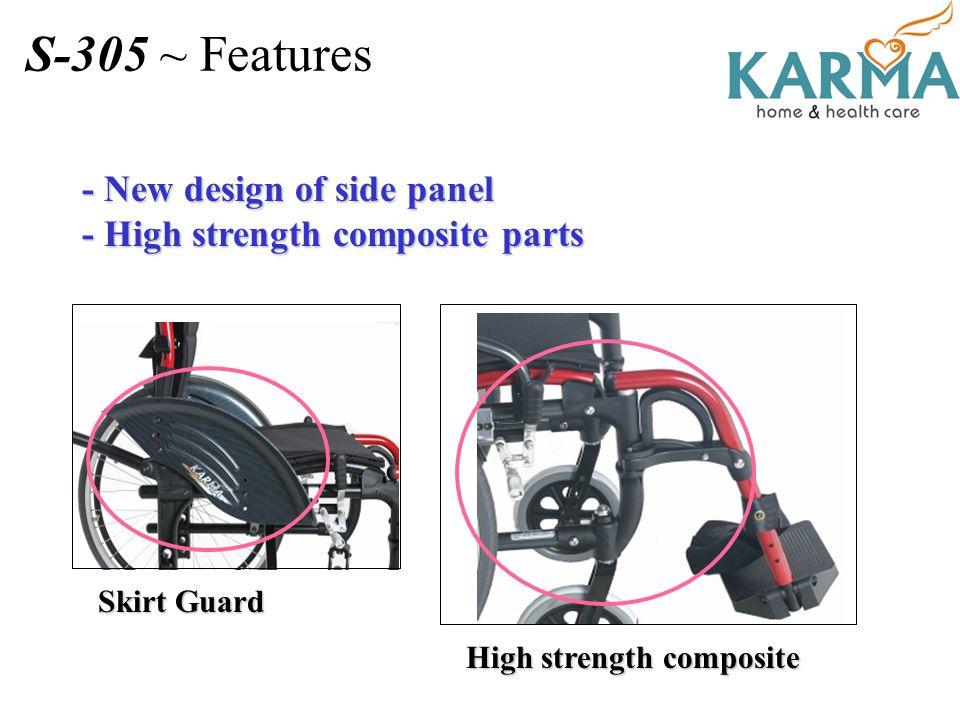 - New design of side panel - High strength composite parts Skirt Guard High strength composite S-305 ~ Features