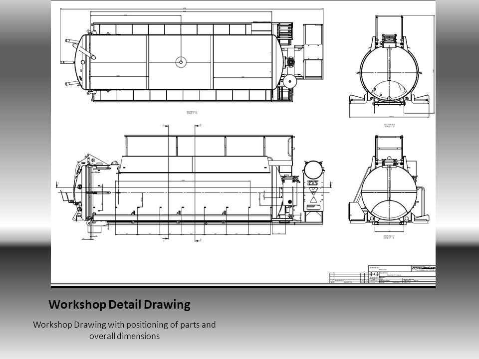 Sectioned Drawing For Workshop Sectioned Drawing, showing the positioning of Brackets and pivots for the tanker