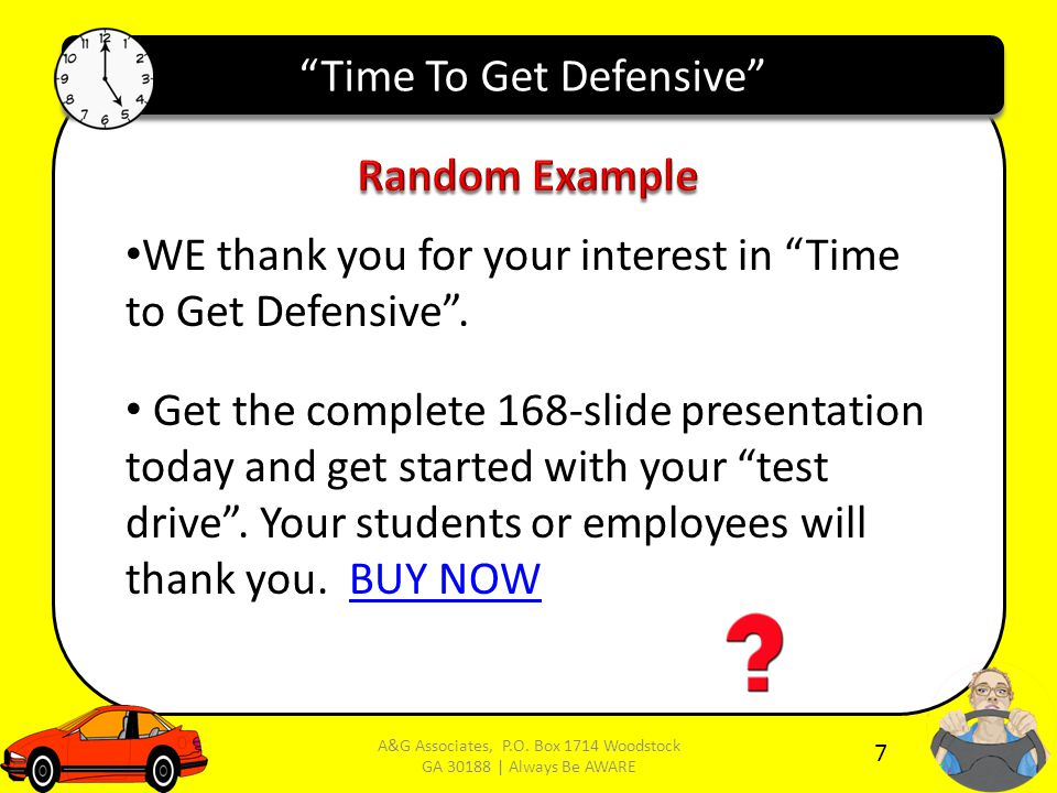 Time To Get Defensive WE thank you for your interest in Time to Get Defensive .