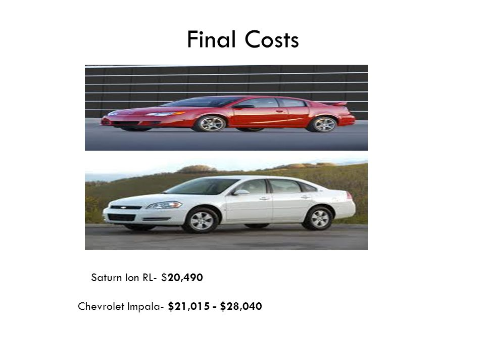 Final Costs Chevrolet Impala- $21,015 - $28,040 Saturn Ion RL- $20,490