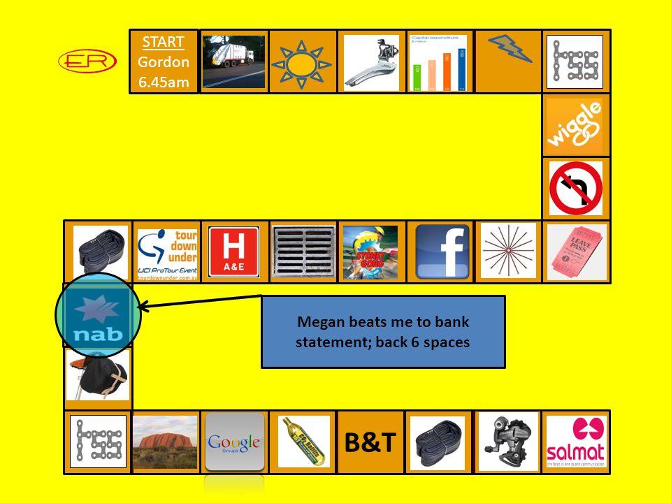 START Gordon 6.45am B&T Megan beats me to bank statement; back 6 spaces