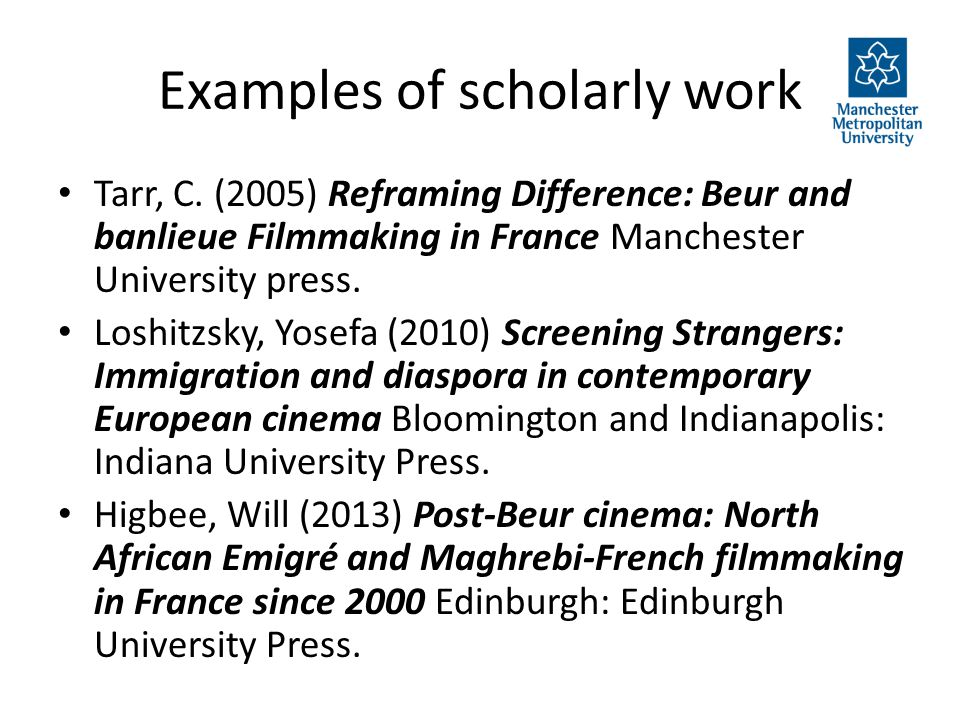 Examples of scholarly work Tarr, C.
