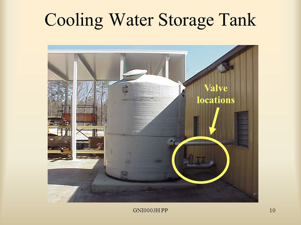 10 Cooling Water Storage Tank Valve locations