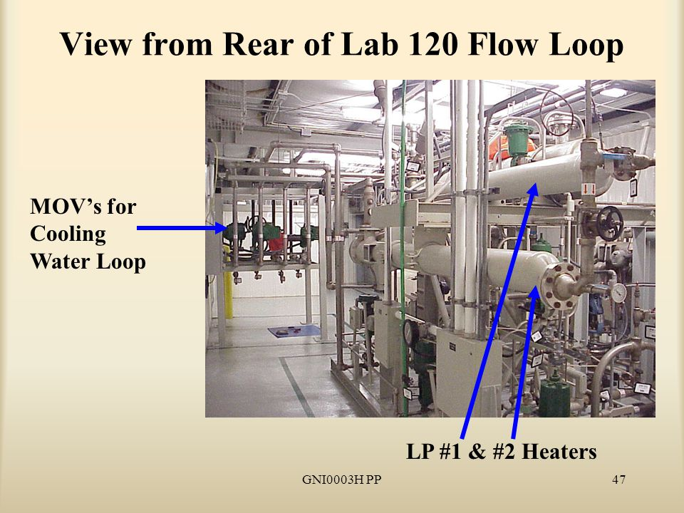 GNI0003H PP47 View from Rear of Lab 120 Flow Loop MOV's for Cooling Water Loop LP #1 & #2 Heaters
