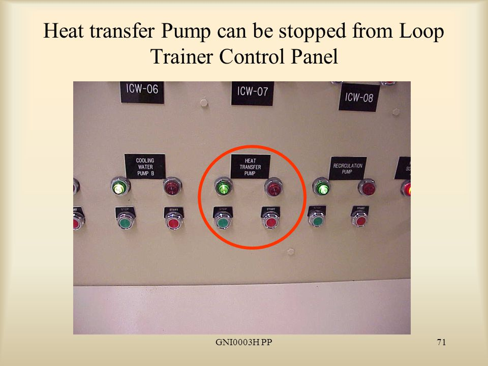 GNI0003H PP71 Heat transfer Pump can be stopped from Loop Trainer Control Panel