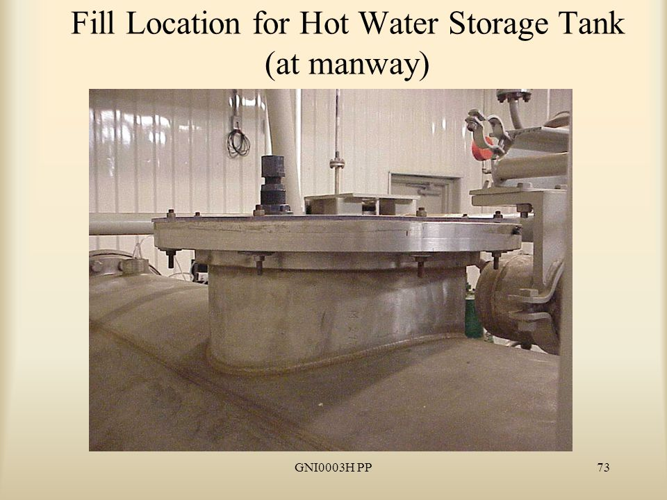 GNI0003H PP74 Water must cover heater elements in Hot Water Storage Tank (ensure above tube bundle)