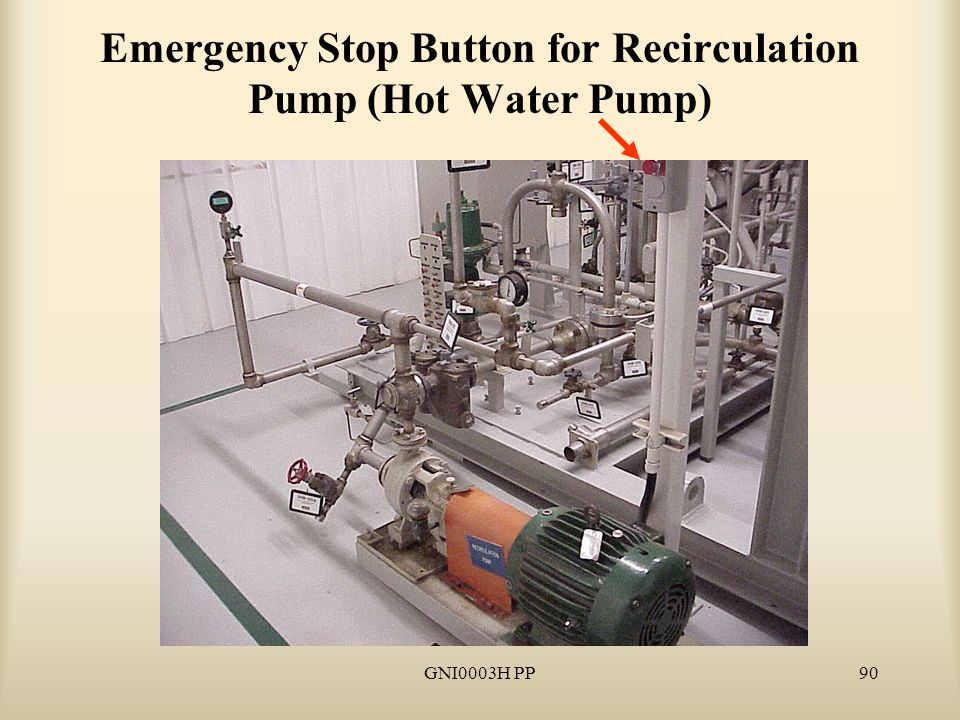 GNI0003H PP90 Emergency Stop Button for Recirculation Pump (Hot Water Pump)