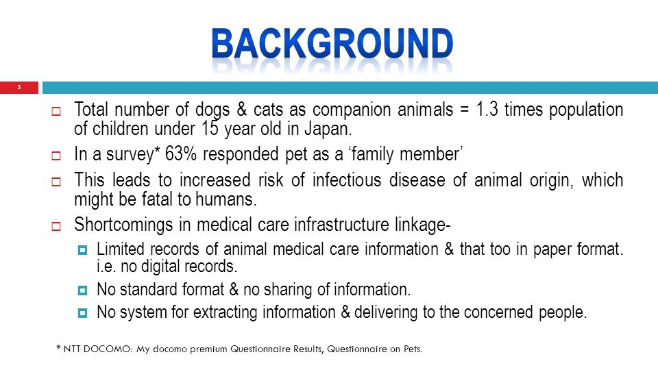 3  Total number of dogs & cats as companion animals = 1.3 times population of children under 15 year old in Japan.