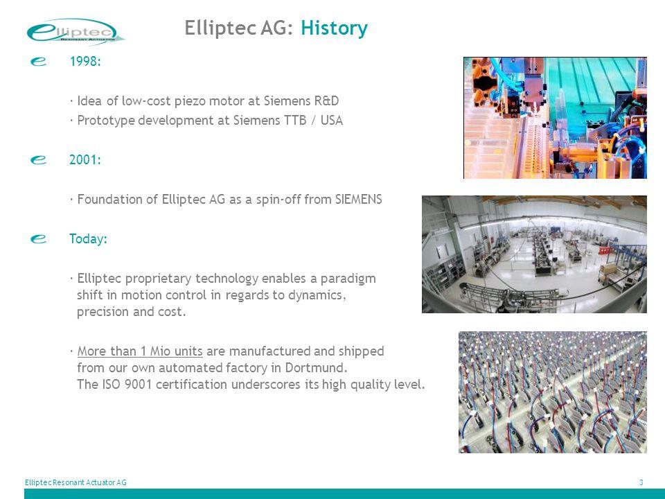 Elliptec Resonant Actuator AG3 1998: · Idea of low-cost piezo motor at Siemens R&D · Prototype development at Siemens TTB / USA 2001: · Foundation of