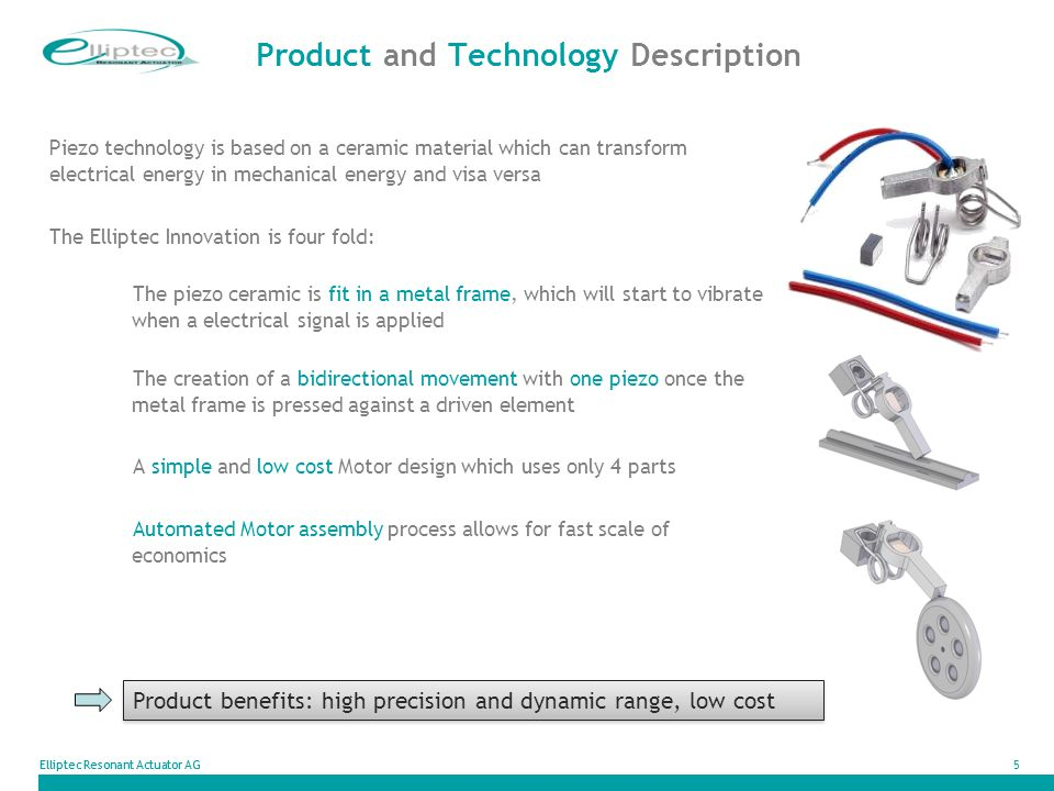 Elliptec Resonant Actuator AG5 Product and Technology Description Piezo technology is based on a ceramic material which can transform electrical energ