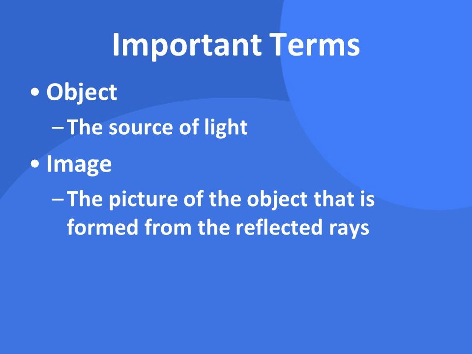 Important Terms object image