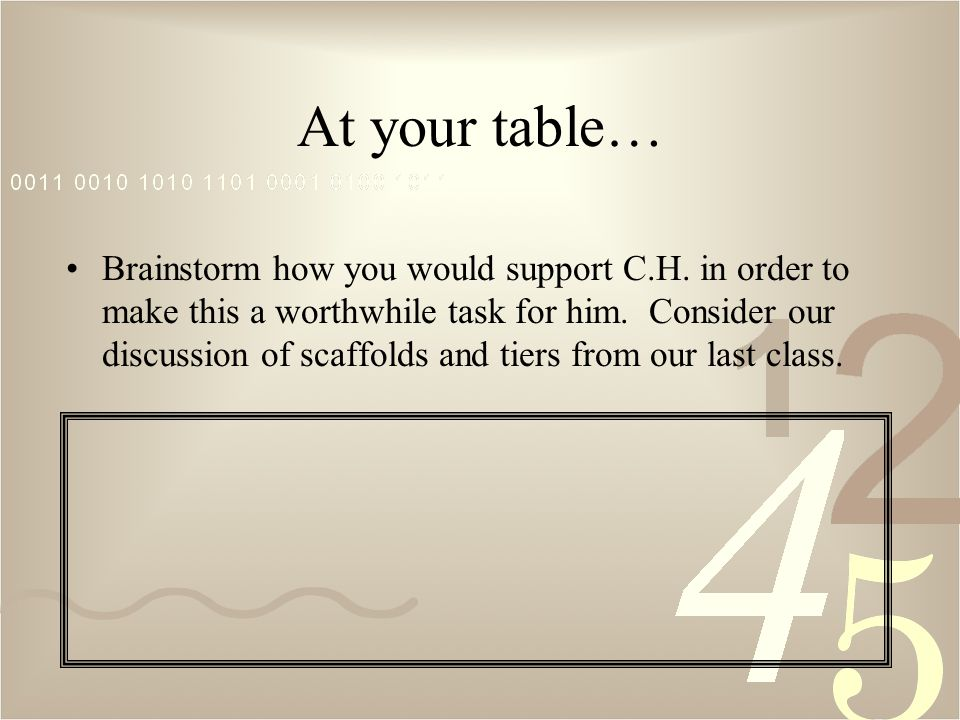 At your table… Brainstorm how you would support C.H.