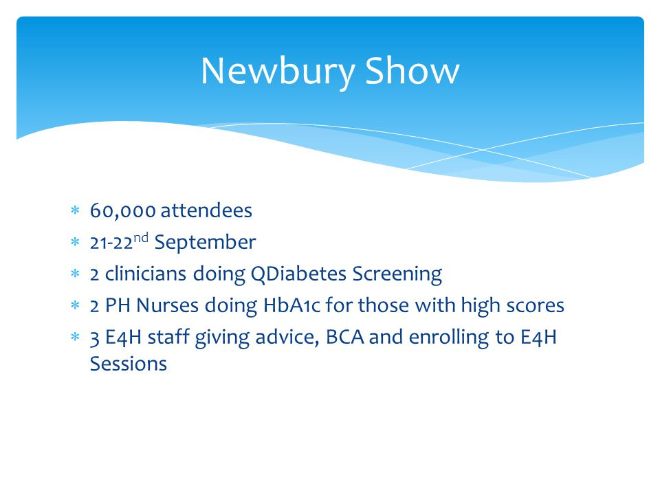  60,000 attendees  21-22 nd September  2 clinicians doing QDiabetes Screening  2 PH Nurses doing HbA1c for those with high scores  3 E4H staff giving advice, BCA and enrolling to E4H Sessions Newbury Show