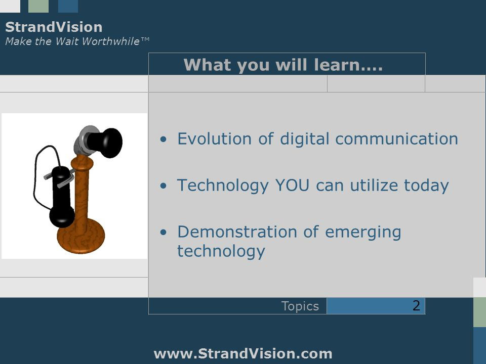 StrandVision Make the Wait Worthwhile™ www.StrandVision.com Topics 2 What you will learn….
