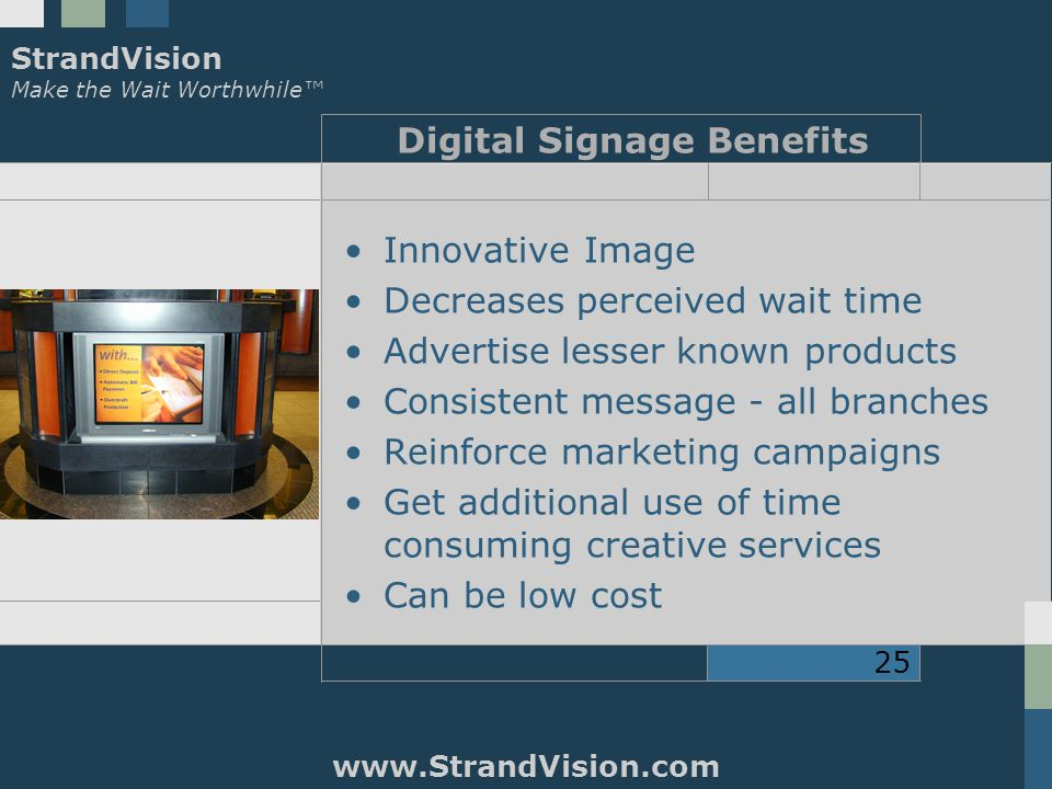 StrandVision Make the Wait Worthwhile™ www.StrandVision.com 25 Digital Signage Benefits Innovative Image Decreases perceived wait time Advertise lesser known products Consistent message - all branches Reinforce marketing campaigns Get additional use of time consuming creative services Can be low cost