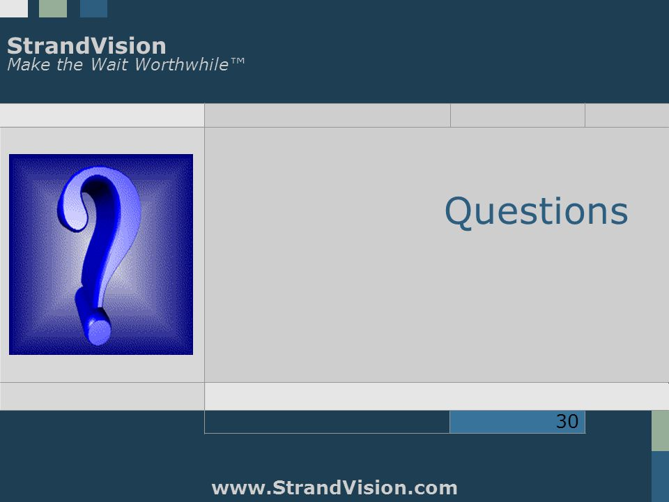 StrandVision Make the Wait Worthwhile™ www.StrandVision.com 30 Questions