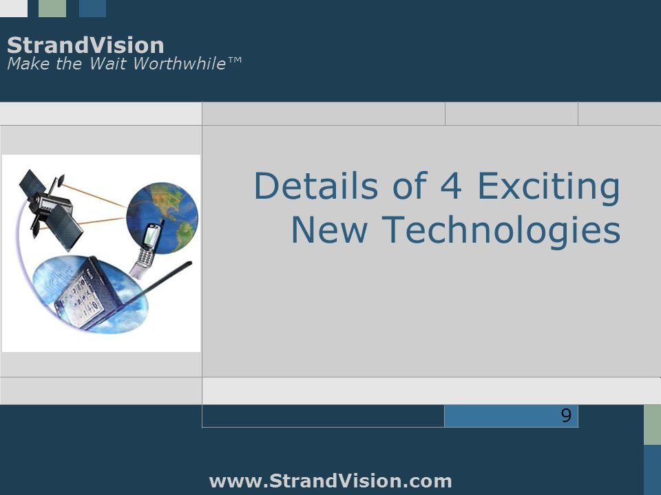 StrandVision Make the Wait Worthwhile™ www.StrandVision.com 9 Details of 4 Exciting New Technologies