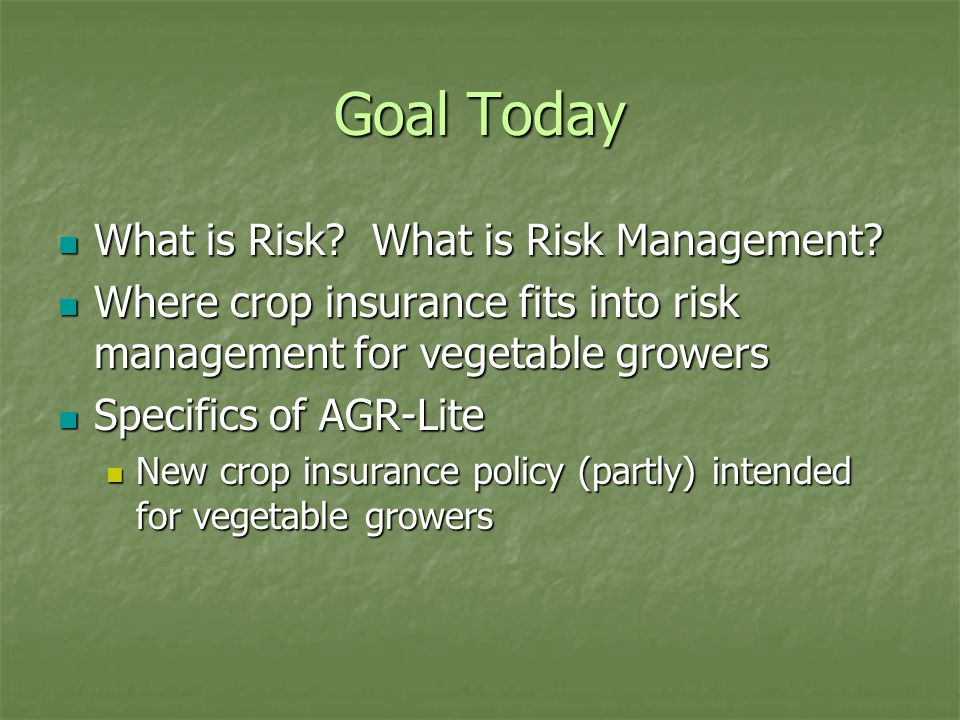Goal Today What is Risk. What is Risk Management.