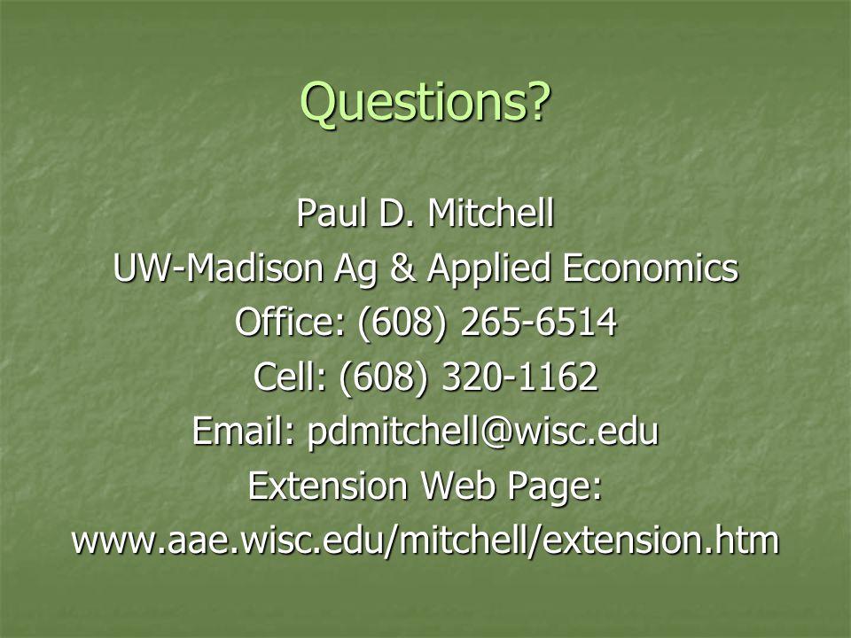 Questions. Paul D.