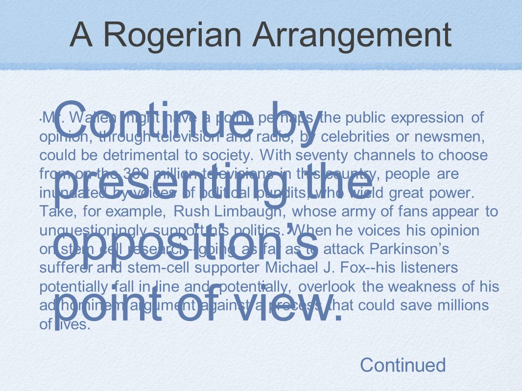 A Rogerian Arrangement Mr.
