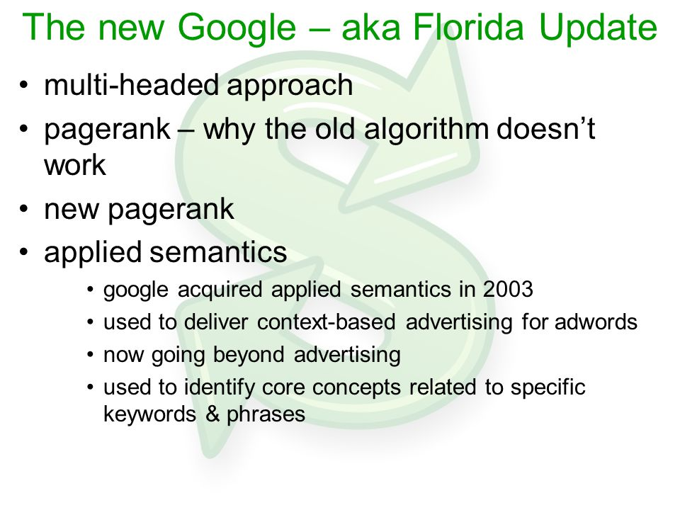 The new Google – aka Florida Update multi-headed approach pagerank – why the old algorithm doesn't work new pagerank applied semantics google acquired