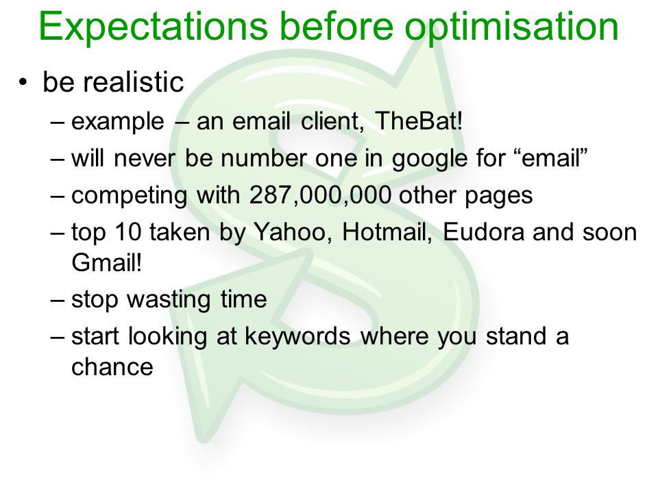How to optimise a picture isn't worth a thousand words keyword research writing the copy –write at least 250-300 words based on keywords –this is critical –engines need this to classify site & identify content –write copy based on your keywords –not the other way round –don't be scared to repeat phrase if required –but don't go overboard