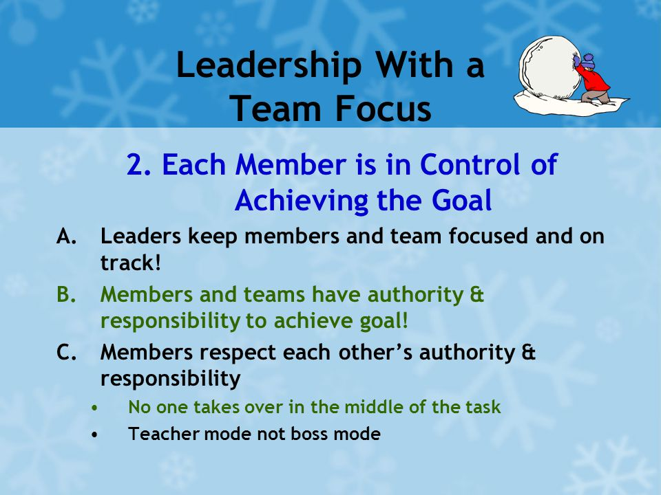 Leadership With a Team Focus 2. Each Member is in Control of Achieving the Goal A.Leaders keep members and team focused and on track! B.Members and te