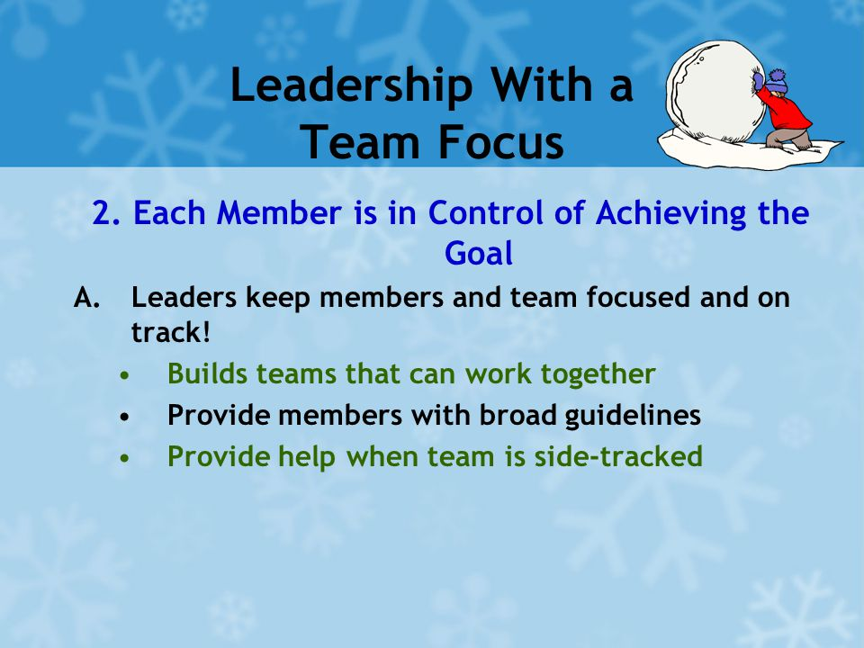 Leadership With a Team Focus 2. Each Member is in Control of Achieving the Goal A.Leaders keep members and team focused and on track! Builds teams tha