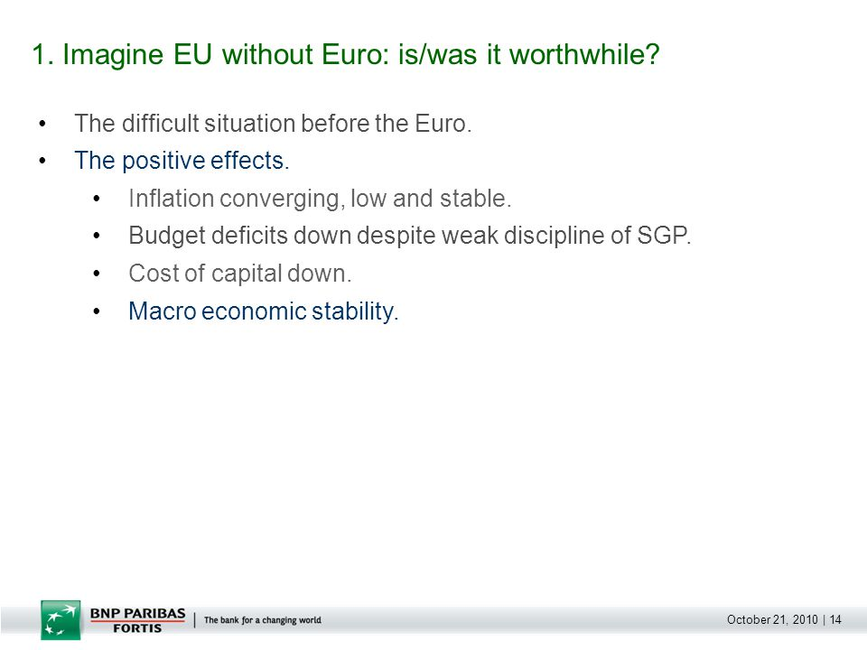 October 21, 2010 | 14 The difficult situation before the Euro.