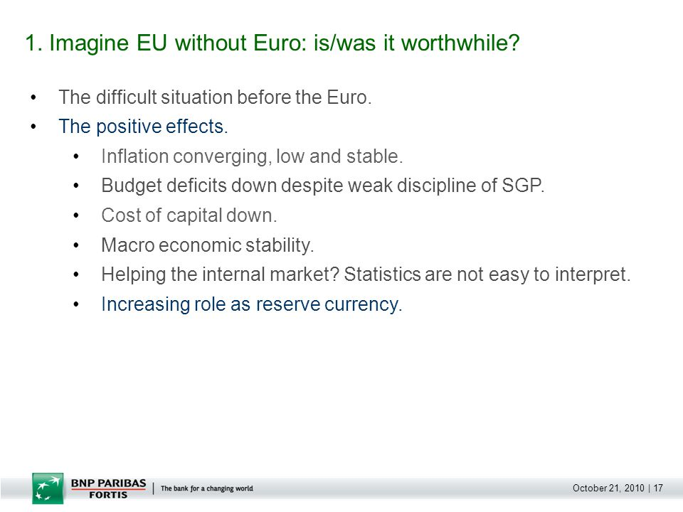 October 21, 2010 | 17 The difficult situation before the Euro.