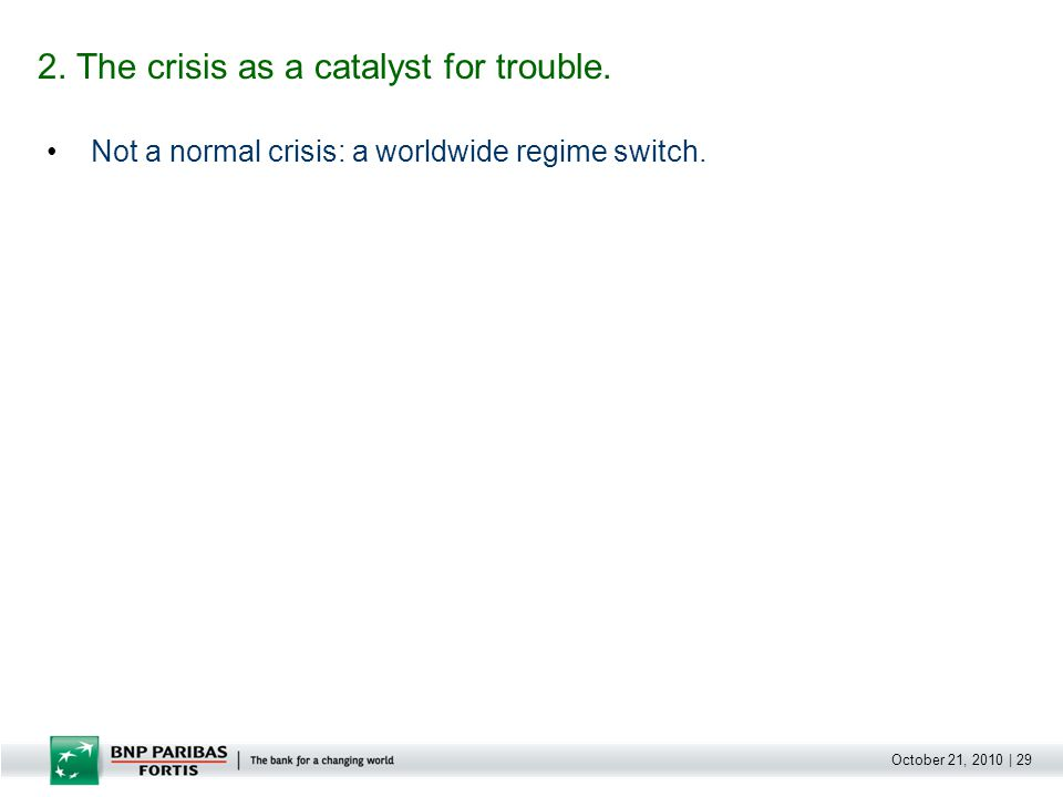 October 21, 2010 | 29 Not a normal crisis: a worldwide regime switch. 2. The crisis as a catalyst for trouble.