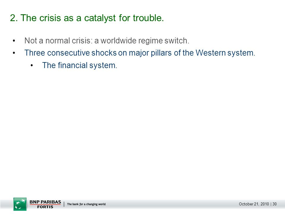 October 21, 2010 | 30 Not a normal crisis: a worldwide regime switch. Three consecutive shocks on major pillars of the Western system. The financial s