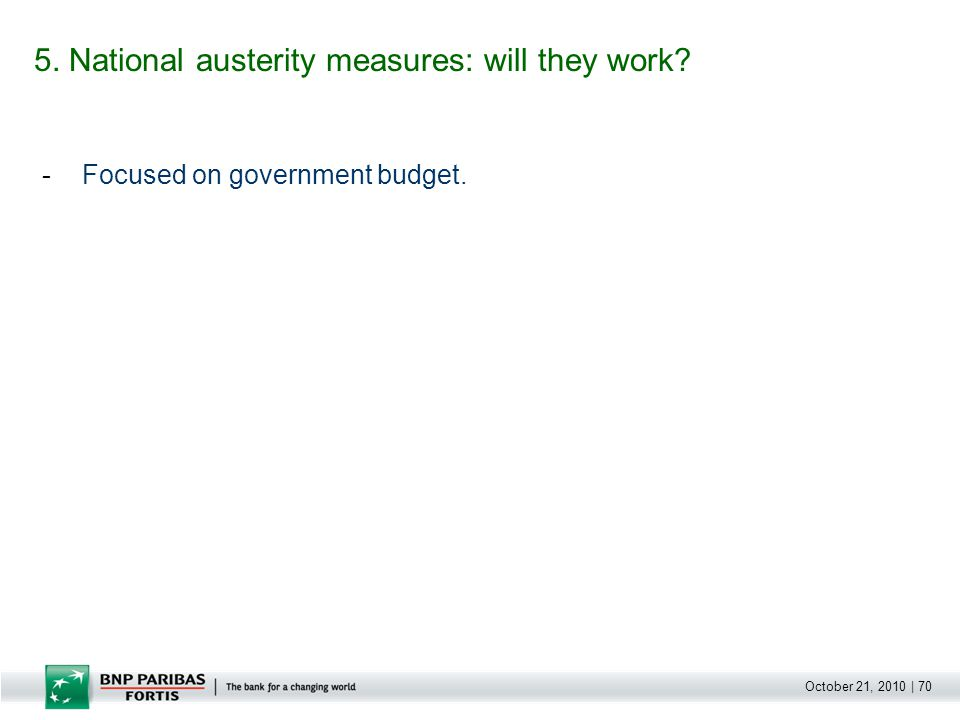 October 21, 2010 | 70 -Focused on government budget. 5. National austerity measures: will they work?