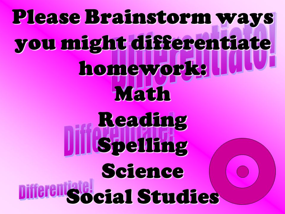 Please Brainstorm ways you might differentiate homework: Math Reading Spelling Science Social Studies