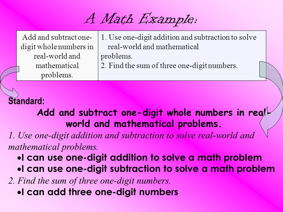 A Math Example: Add and subtract one- digit whole numbers in real-world and mathematical problems.