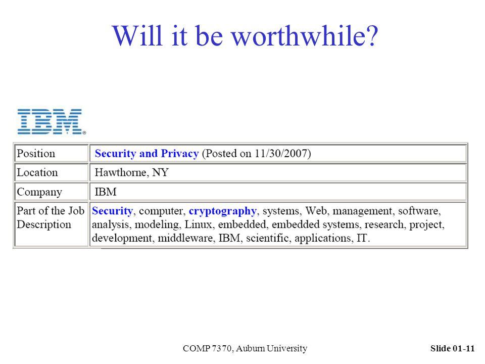 Slide 01-11COMP 7370, Auburn University Will it be worthwhile?