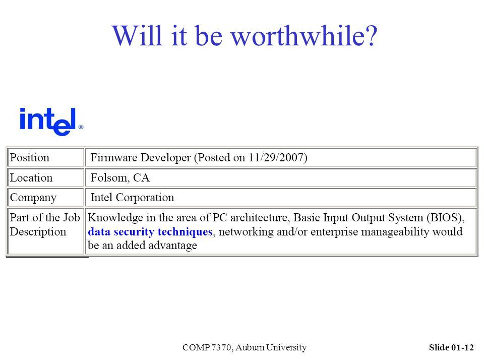 Slide 01-12COMP 7370, Auburn University Will it be worthwhile?
