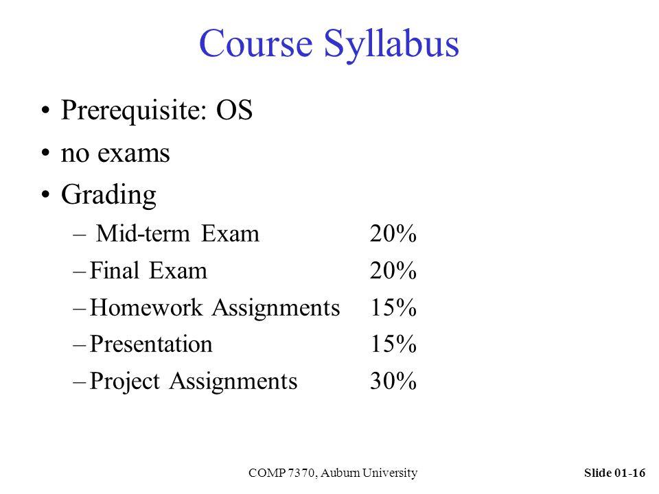 Slide 01-16COMP 7370, Auburn University Course Syllabus Prerequisite: OS no exams Grading – Mid-term Exam 20% –Final Exam 20% –Homework Assignments15%