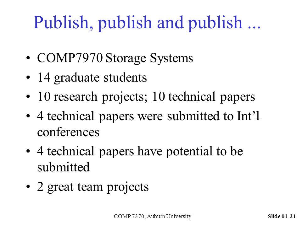 Slide 01-21COMP 7370, Auburn University Publish, publish and publish... COMP7970 Storage Systems 14 graduate students 10 research projects; 10 technic