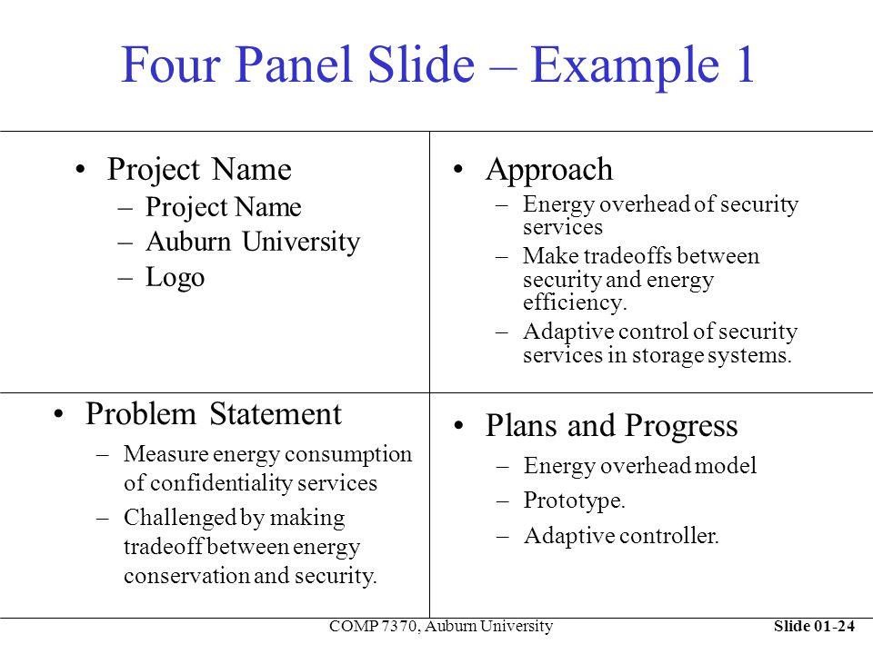 Slide 01-24COMP 7370, Auburn University Four Panel Slide – Example 1 Project Name –Project Name –Auburn University –Logo Approach –Energy overhead of
