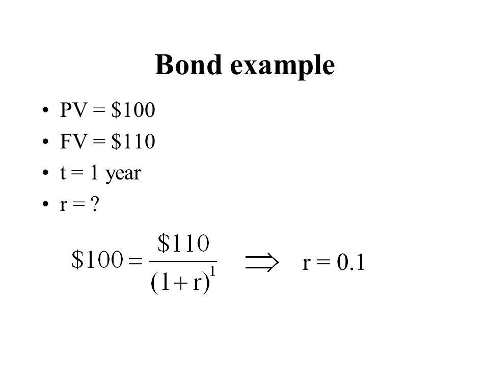 Bond example PV = $100 FV = $110 t = 1 year r = ? r = 0.1