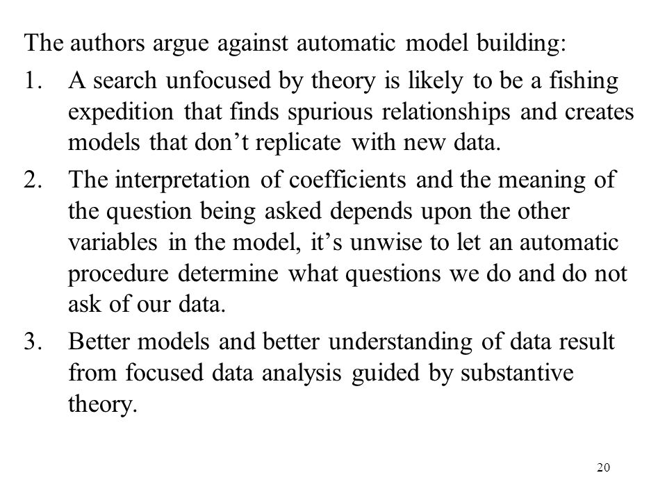 20 The authors argue against automatic model building: 1.A search unfocused by theory is likely to be a fishing expedition that finds spurious relationships and creates models that don't replicate with new data.