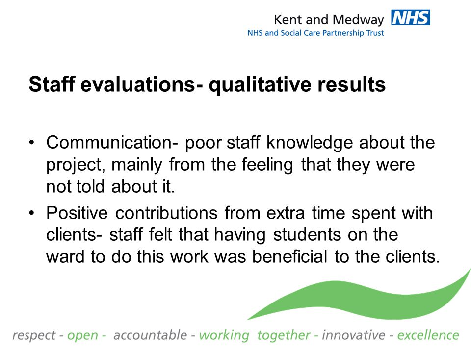Staff evaluations- qualitative results Communication- poor staff knowledge about the project, mainly from the feeling that they were not told about it.